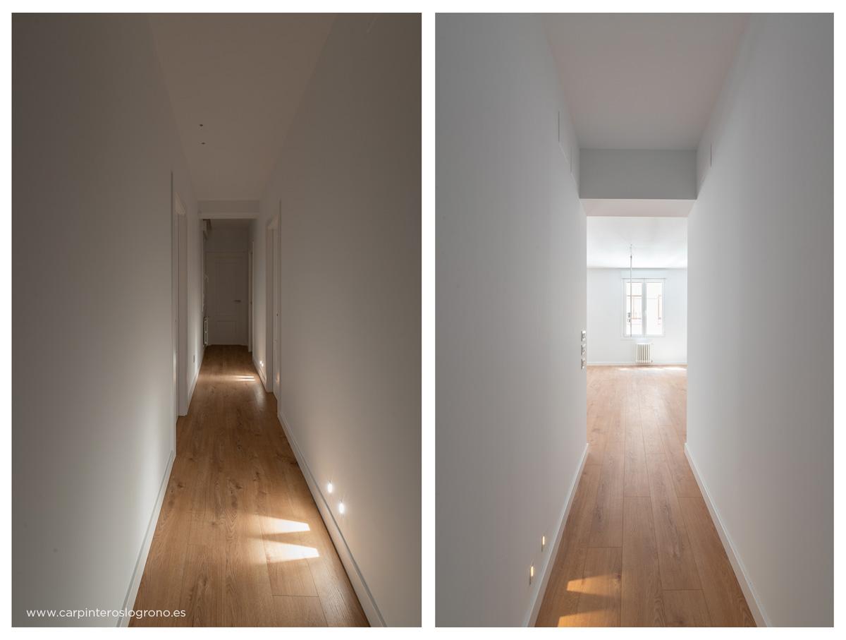 Vista de los pasillos, rodapies y suelo de madera